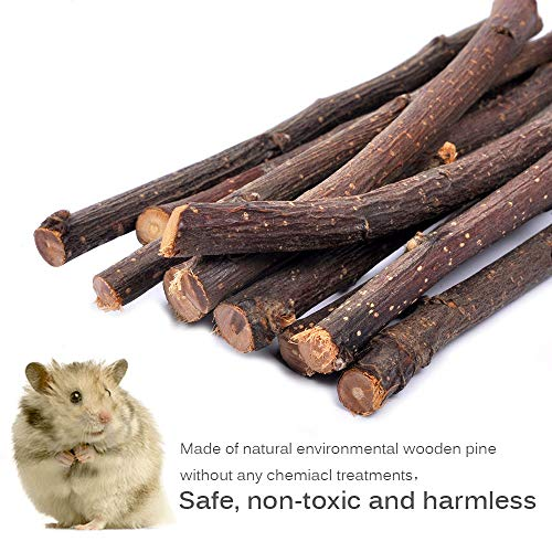 MyfatBOSS-Pack-of-6-Hamster-Chew-Toys-Natural-Apple-Sticks-Hamster-Ladder-Bridge-Unicycle-Dumbells-Exercise-Roller-Teeth-Care-Molar-Toy-for-Rabbits-Rat-Guinea-Pig-Chinchilla-and-Other-Small-Pets-0-1