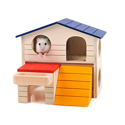Naisidier-Dwarf-Hamster-House-Durable-Odorless-Non-Toxic-Deluxe-Two-Layers-Wooden-Hut-for-Hamster-Toys-0-2