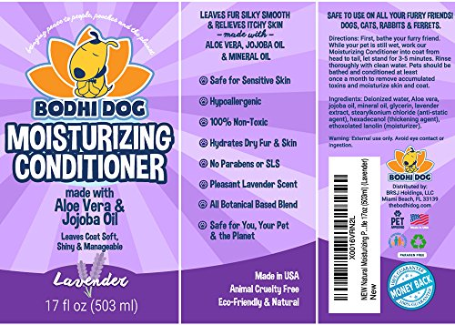 New-Natural-Moisturizing-Pet-Conditioner-Conditioning-for-Dogs-Cats-and-More-Soothing-Aloe-Vera-Jojoba-Oil-Vet-and-Pet-Approved-Treatment-Made-in-The-USA-1-Bottle-17oz-503ml-0-2