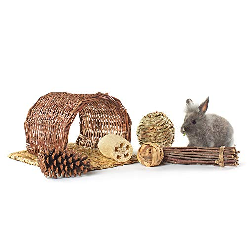 Niteangel-Twig-Tunnel-Small-Animal-Hideout-Timothy-Club-Mat-Natural-Grass-Balls-Chew-Toys-Kits-0-0