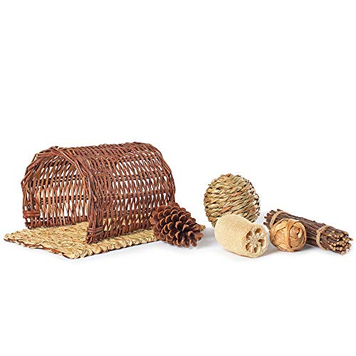 Niteangel-Twig-Tunnel-Small-Animal-Hideout-Timothy-Club-Mat-Natural-Grass-Balls-Chew-Toys-Kits-0