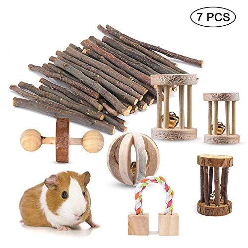 PAWACA-Natural-Wooden-Dumbells-Exercise-Bell-Roller-Teeth-Care-Molar-Toy-7-Pack-Guinea-Pig-Toys-Chinchilla-Hamster-Rat-Chews-Toys-Bunny-Rabbits-Gerbil-0