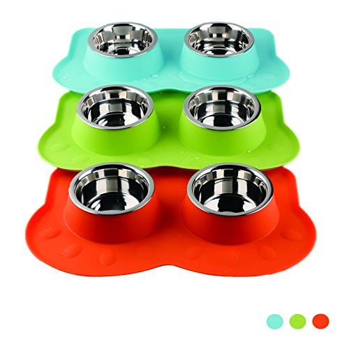 PAWISE-Dog-Bowl-Stainless-Steel-Dog-Food-Water-Bowl-with-No-Spill-Silicone-Mat-Puppy-Bowl-for-Feeding-Dogs-Cats-Puppies-350ml-x-2-0