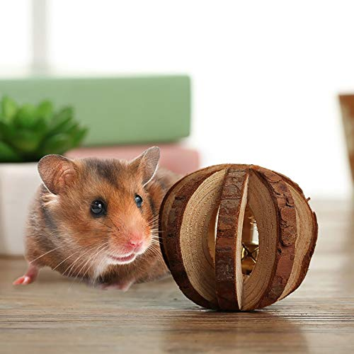 PIVBY-Wooden-Hamster-Chew-Toys-Teeth-Care-Molar-Ball-Exercise-Playing-Bell-Roller-Toy-for-Rabbits-Rat-Guinea-Pig-and-Other-Small-Pets-Pack-of-4-0-2