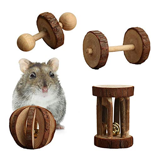 PIVBY-Wooden-Hamster-Chew-Toys-Teeth-Care-Molar-Ball-Exercise-Playing-Bell-Roller-Toy-for-Rabbits-Rat-Guinea-Pig-and-Other-Small-Pets-Pack-of-4-0