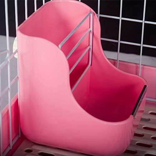 POPETPOP-Plastic-Pet-Rabbit-Chinchillas-2-in-1-Feeder-Bowls-Small-Animal-Supplies-Pink-0-2
