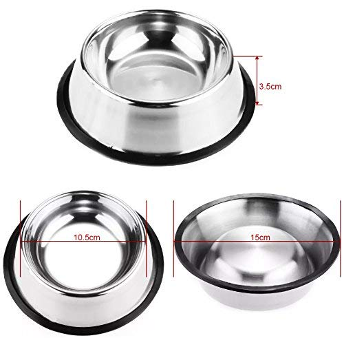 Pet-Bowls-for-Smaller-Dogs-Cats-Wipe-Clean-Stainless-Steel-Non-Skid-Bottom-for-Dogs-Puppies-Cats-Kittens-Rabbits-more-Set-of-2-0-2