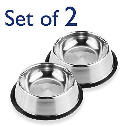 Pet-Bowls-for-Smaller-Dogs-Cats-Wipe-Clean-Stainless-Steel-Non-Skid-Bottom-for-Dogs-Puppies-Cats-Kittens-Rabbits-more-Set-of-2-0