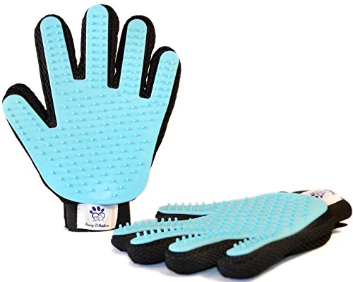 Pet-Grooming-Glove-Pair-By-Fuzzy-Whiskers-Gentle-Deshedding-Brush-Glove-Five-Finger-Design-Perfect-Hair-Remover-and-Massage-Tool-For-CatsDogsRabbitsHorses-with-Long-Short-Fur-0