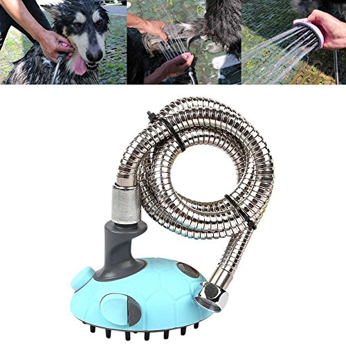 Pet-Shower-Bath-Massager-Handheld-Sprayer-Shampoo-Brush-Grooming-Tool-Multi-Functional-Pet-Cleaning-Supplies-for-Dogs-and-Cats-with-Stainless-Steel-Hose-1Pcs-Blue-0