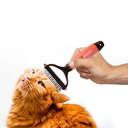 PetGroom-The-Best-Dematting-Tool-Deshedding-Comb-Professional-Rake-Double-Row-Teeth-Brush-for-Dogs-or-Cats-Best-in-Removing-of-Undercoat-Mats-Knots-and-Tangled-Hair-Soft-Grip-Handle-0-1