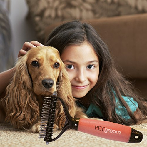 PetGroom-The-Best-Dematting-Tool-Deshedding-Comb-Professional-Rake-Double-Row-Teeth-Brush-for-Dogs-or-Cats-Best-in-Removing-of-Undercoat-Mats-Knots-and-Tangled-Hair-Soft-Grip-Handle-0