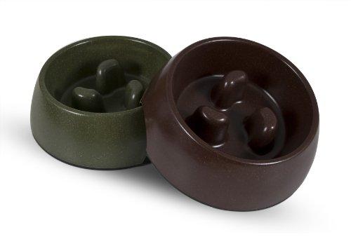 Petmate-23356-Eco-Slow-Pet-Feeding-Bowl-Large-Earth-BrownForrest-GreenAssorted-0