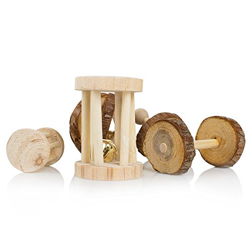 Pevor-Pack-of-5-Hamster-Chew-Toys-Natural-Wooden-Pine-Dumbells-Exercise-Bell-Roller-Teeth-Care-Molar-Toy-for-Rabbits-Rat-Guinea-Pig-and-Other-Small-Pets-Play-Toy-0-0