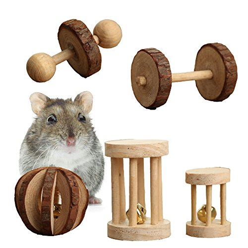 Pevor-Pack-of-5-Hamster-Chew-Toys-Natural-Wooden-Pine-Dumbells-Exercise-Bell-Roller-Teeth-Care-Molar-Toy-for-Rabbits-Rat-Guinea-Pig-and-Other-Small-Pets-Play-Toy-0