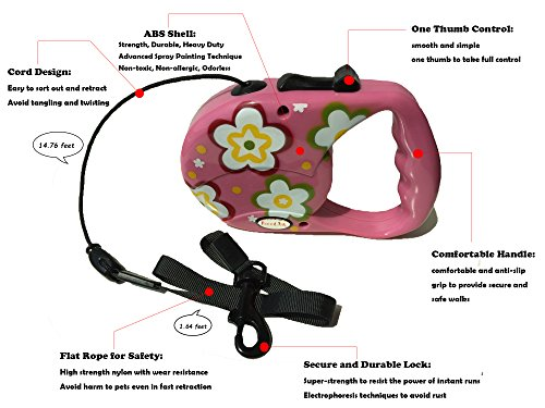 Reelok-Pink-Beautiful-Flower-Patterns-Automatic-Retractable-Durable-Heavy-Duty-High-Quality-Super-Strength-Dog-Pet-Cord-Leash-Safe-Walk-16-feet-5-M-0-0
