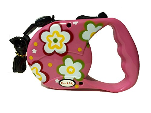 Reelok-Pink-Beautiful-Flower-Patterns-Automatic-Retractable-Durable-Heavy-Duty-High-Quality-Super-Strength-Dog-Pet-Cord-Leash-Safe-Walk-16-feet-5-M-0