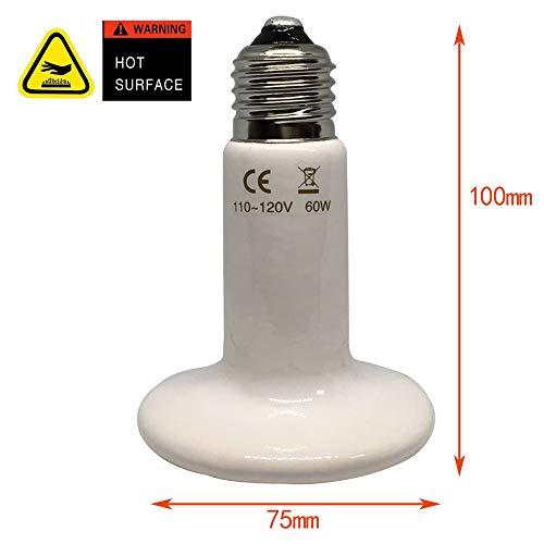 Reptile-Heat-Lamp-Bulb-60W-E26-lamp-Holder-one-Piece-Ceramic-Heat-Emitter-No-Harm-No-Light-Infrared-Heater-Lamp-for-Terrarium-Aquarium-Amphibian-Snake-Chickens-Brooder-Birds-Pets-AC-110V-120V-White-0-0