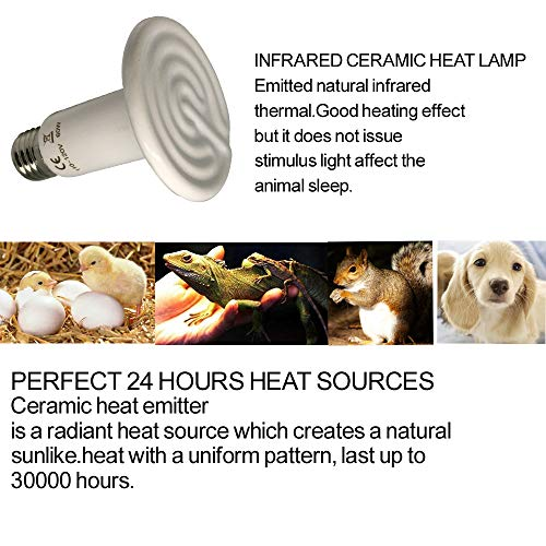 Reptile-Heat-Lamp-Bulb-60W-E26-lamp-Holder-one-Piece-Ceramic-Heat-Emitter-No-Harm-No-Light-Infrared-Heater-Lamp-for-Terrarium-Aquarium-Amphibian-Snake-Chickens-Brooder-Birds-Pets-AC-110V-120V-White-0-1