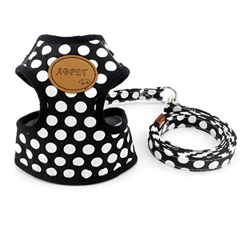 SELMAI-Small-Dog-Harness-Vest-Leash-Set-Polka-DotCamo-Mesh-Padded-No-Pull-Leads-for-Puppy-Pet-Cat-0-0