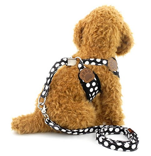 SELMAI-Small-Dog-Harness-Vest-Leash-Set-Polka-DotCamo-Mesh-Padded-No-Pull-Leads-for-Puppy-Pet-Cat-0-2