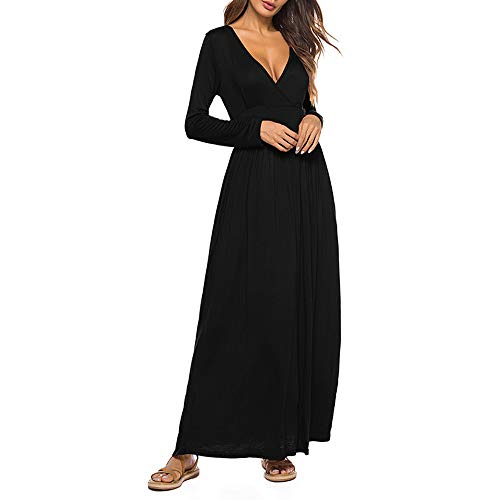 SSYUNO-Womens-Fashion-Soild-Casual-Deep-V-Neck-Tie-Print-Long-Maxi-Dress-with-Pocket-0-0