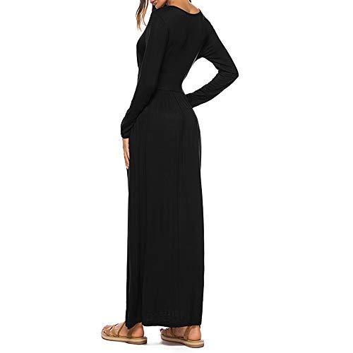 SSYUNO-Womens-Fashion-Soild-Casual-Deep-V-Neck-Tie-Print-Long-Maxi-Dress-with-Pocket-0-2