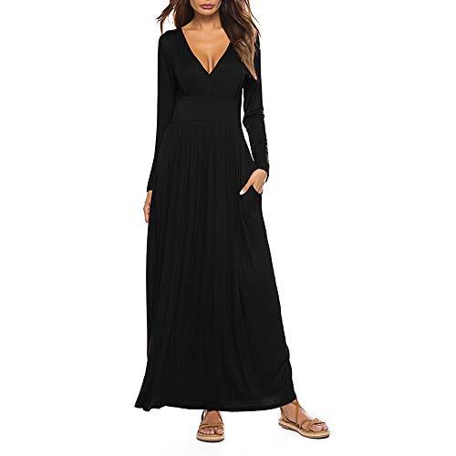 SSYUNO-Womens-Fashion-Soild-Casual-Deep-V-Neck-Tie-Print-Long-Maxi-Dress-with-Pocket-0