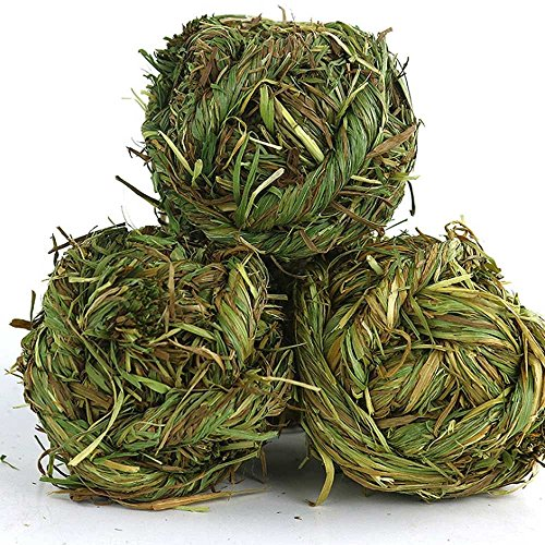 SZBOYU-Natural-Woven-Timothy-Grass-Ball-Small-Pets-Chew-Toy-for-Rabbits-Guinea-Pigs-Chinchillas-Hamsters-2-Pack-0-2