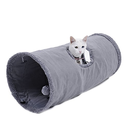 Speedy-Pet-Collapsible-Cat-Tunnel-Cat-Toys-Play-Tunnel-Durable-Suede-Hideaway-Pet-Crinkle-Tunnel-with-Ball12-inch-Diameter-0-0