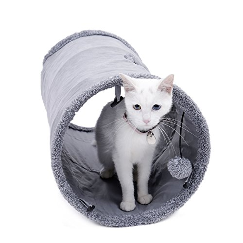 Speedy-Pet-Collapsible-Cat-Tunnel-Cat-Toys-Play-Tunnel-Durable-Suede-Hideaway-Pet-Crinkle-Tunnel-with-Ball12-inch-Diameter-0