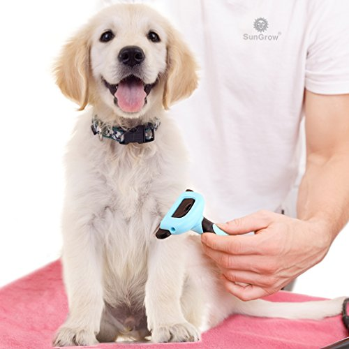 SunGrow-Deshedding-Brush-Vet-Approved-Grooming-Tool-Pet-Safe-Stainless-Steel-Blades-3-Minutes-to-Groom-self-Clean-Small-Medium-and-Large-pet-Proven-to-Reduce-Hair-Shedding-by-90-0-0