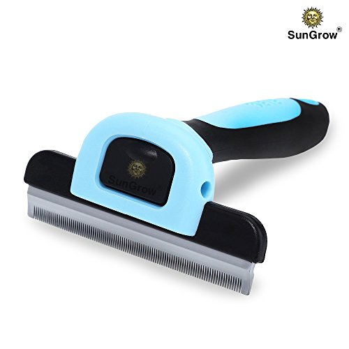 SunGrow-Deshedding-Brush-Vet-Approved-Grooming-Tool-Pet-Safe-Stainless-Steel-Blades-3-Minutes-to-Groom-self-Clean-Small-Medium-and-Large-pet-Proven-to-Reduce-Hair-Shedding-by-90-0