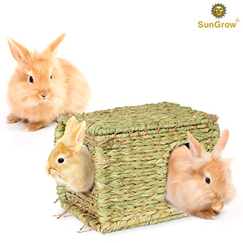 SunGrow-Folding-Woven-Grass-House-for-Rabbits-Guinea-Pigs-Bunnies-Provides-Comfort-Warmth-Security-by-Satisfying-Natural-Instincts-Multi-Utility-Edible-Non-Toxic-Chew-Toy-for-Small-Animals-0-0