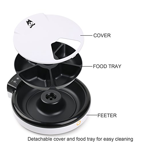 TDYNASTY-DESIGN-Automatic-Pet-Feeder-Cat-Feeder-for-Dogs-Cats-Dry-Food-5-Meals-5-x-240ml-0-0