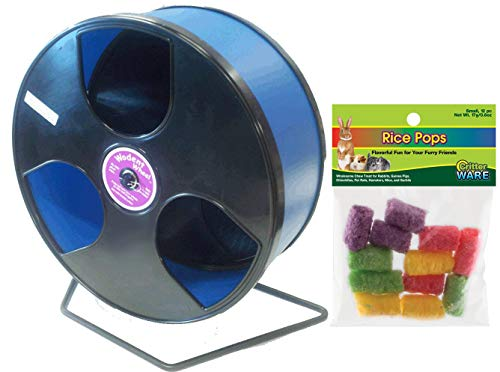 Transoniq-Wobust-Wodent-Wheel-12-Inch-Bundle-with-Ware-Rice-Pops-Treat-Black-with-Blue-Track-0