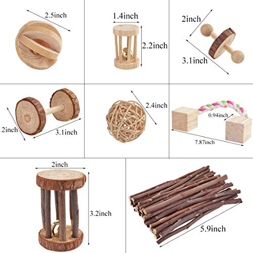 Wobe-Pack-of-8-Guinea-Pig-Toys-Chinchilla-Hamster-Rat-Toys-Bunny-Rabbits-Gerbil-Molar-Wooden-Natural-Wooden-Pine-Dumbells-Exercise-Bell-Roller-Fun-Pet-Balls-Small-Pets-Play-Toy-0-0
