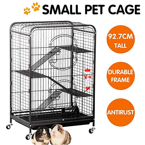 Yaheetech-3752-Metal-Ferret-Cage-Indoor-Outdoor-Small-Animals-Hutch-with-2-Front-Doors3-Front-DoorsFeederWheels-for-Guinea-Pig-Chinchilla-Hamster-Large-RatBlack-0-0