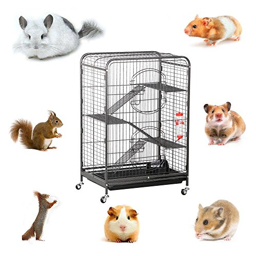 Yaheetech-3752-Metal-Ferret-Cage-Indoor-Outdoor-Small-Animals-Hutch-with-2-Front-Doors3-Front-DoorsFeederWheels-for-Guinea-Pig-Chinchilla-Hamster-Large-RatBlack-0-1
