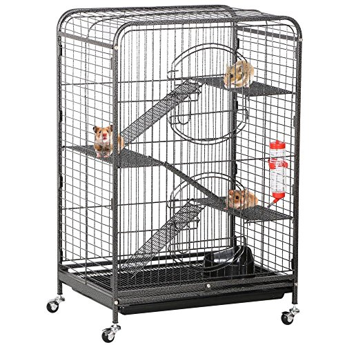 Yaheetech-3752-Metal-Ferret-Cage-Indoor-Outdoor-Small-Animals-Hutch-with-2-Front-Doors3-Front-DoorsFeederWheels-for-Guinea-Pig-Chinchilla-Hamster-Large-RatBlack-0