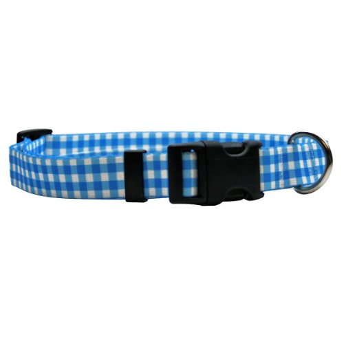 Yellow-Dog-Design-Gingham-Blue-Break-Away-Cat-Collar-One-Size-Fits-All-0