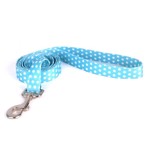 Yellow-Dog-Design-New-Blue-Polka-Dot-Dog-Leash-Size-Large-1-Inch-Wide-and-5-feet-60-inches-Long-0