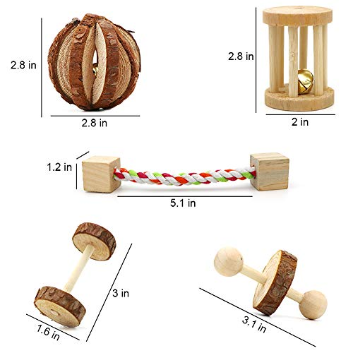 ZALALOVA-Hamster-Chew-Toys-10-Pack-Natural-Wooden-Pine-Guinea-Pigs-Rats-Chinchillas-Toys-Accessories-Dumbells-Exercise-Bell-Roller-Teeth-Care-Molar-Toy-for-Birds-Bunny-Rabbits-Gerbils-0-1